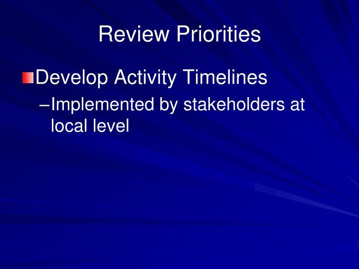 Review Priorities