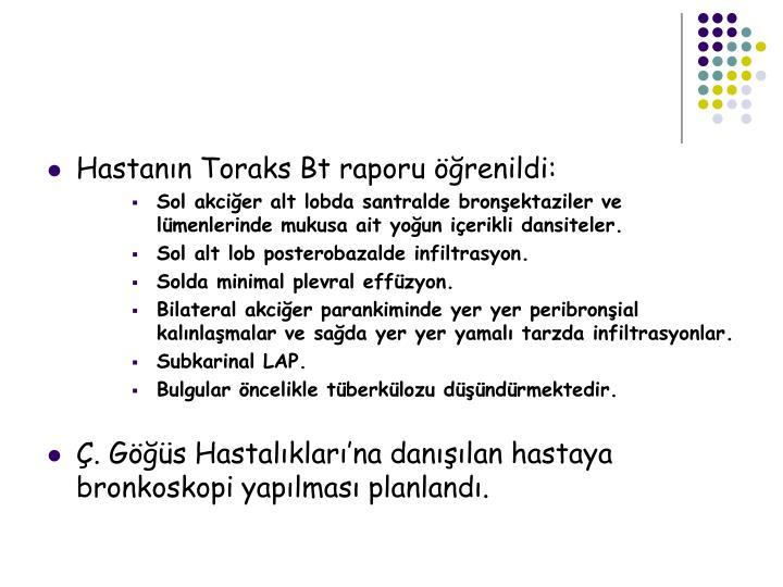 Hastanın Toraks Bt raporu öğrenildi: