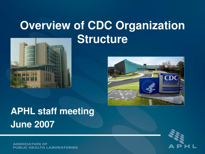 overview of cdc organization structure n.
