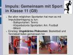 impuls gemeinsam mit sport in klasse 11 g9