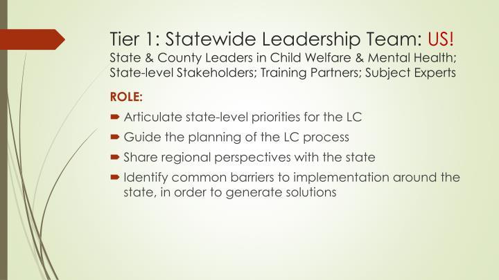 Tier 1: Statewide Leadership Team: