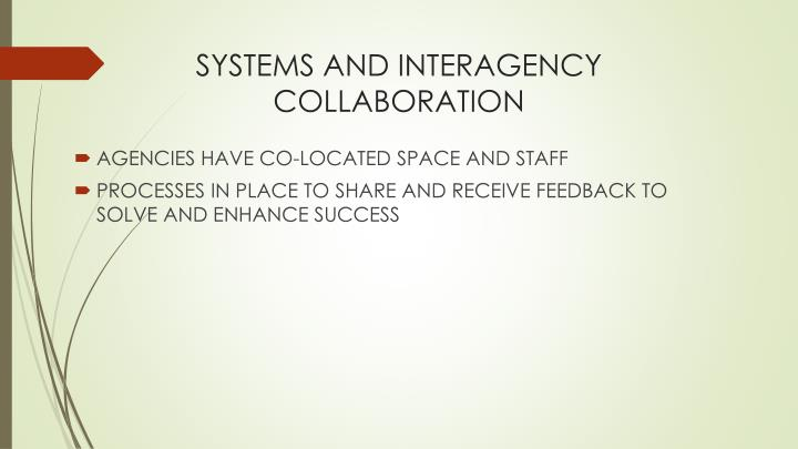 SYSTEMS AND INTERAGENCY COLLABORATION