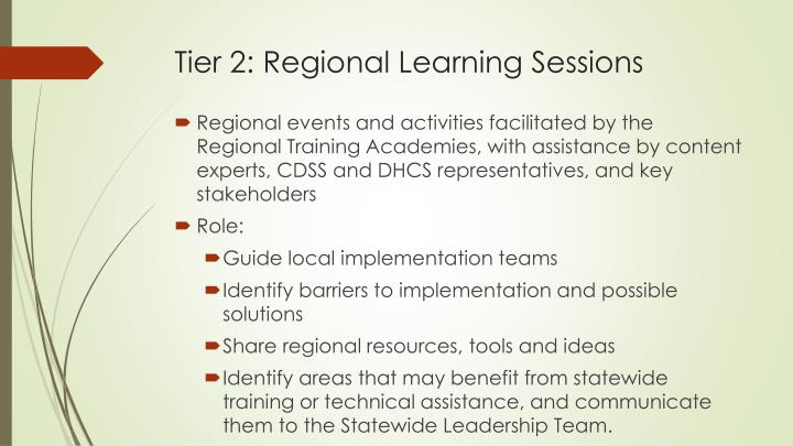 Tier 2: Regional Learning Sessions