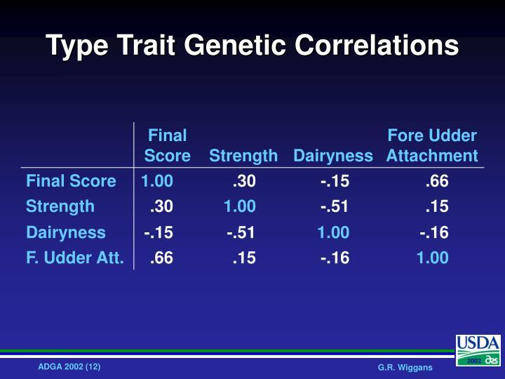 Type Trait Genetic Correlations