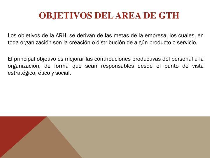 OBJETIVOS DEL AREA DE GTH