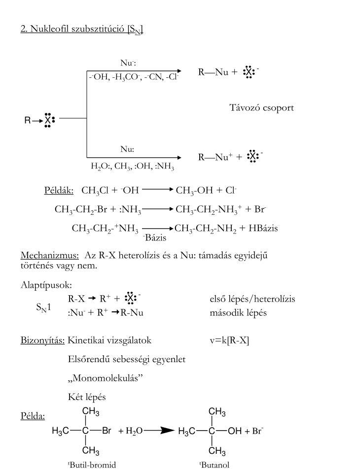 2. Nukleofil szubsztitúció [S