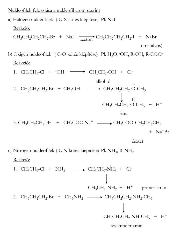 Nukleofilek felosztása a nukleofil atom szerint
