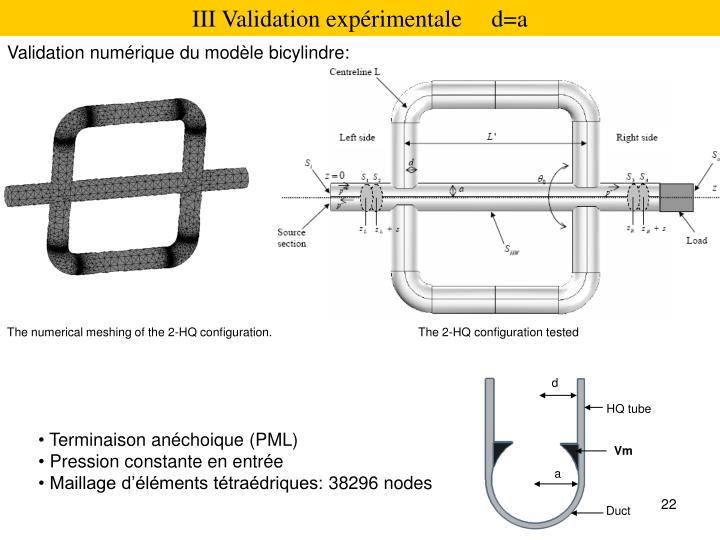 III Validation expérimentale     d=a