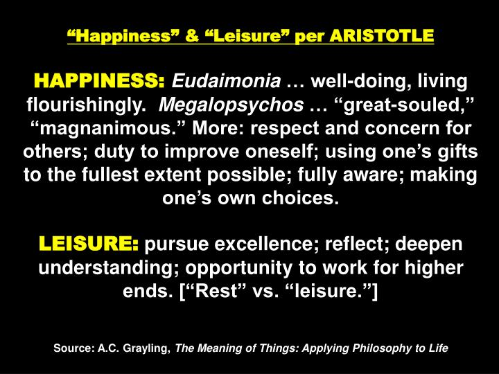 """Happiness"" & ""Leisure"" per ARISTOTLE"