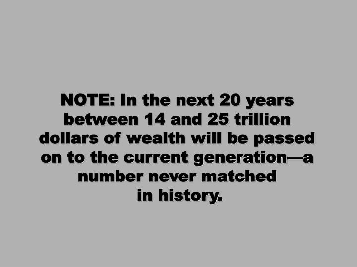 NOTE: In the next 20 years between 14 and 25 trillion dollars of wealth will be passed on to the current generation—a number never matched
