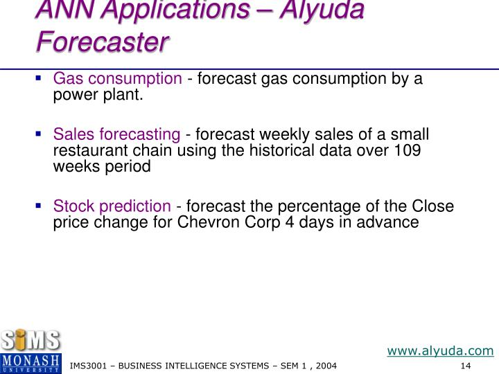 ANN Applications – Alyuda Forecaster