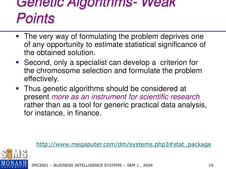 Genetic Algorithms- Weak Points