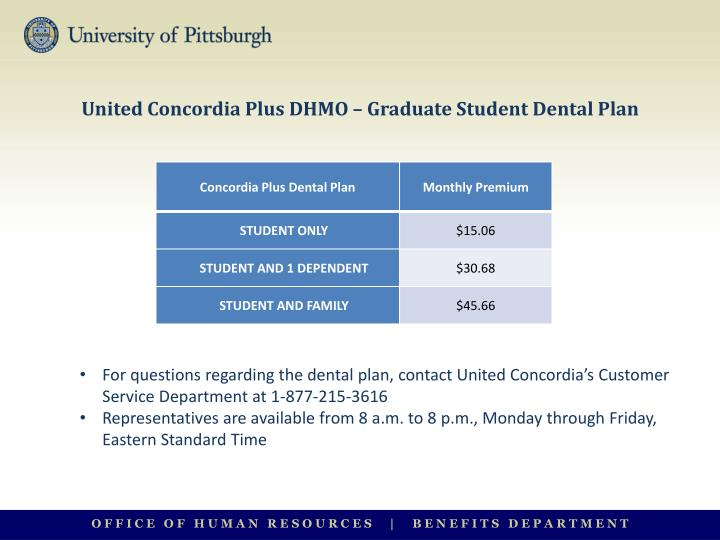 united concordia plus dhmo graduate student dental plan