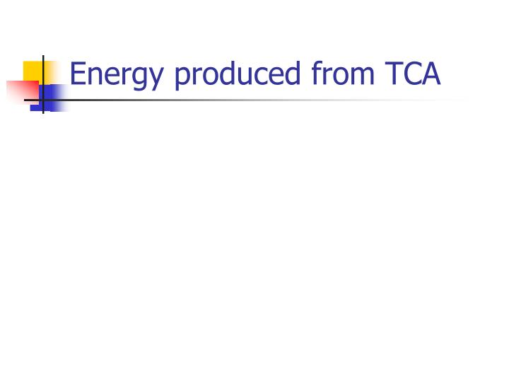 Energy produced from TCA