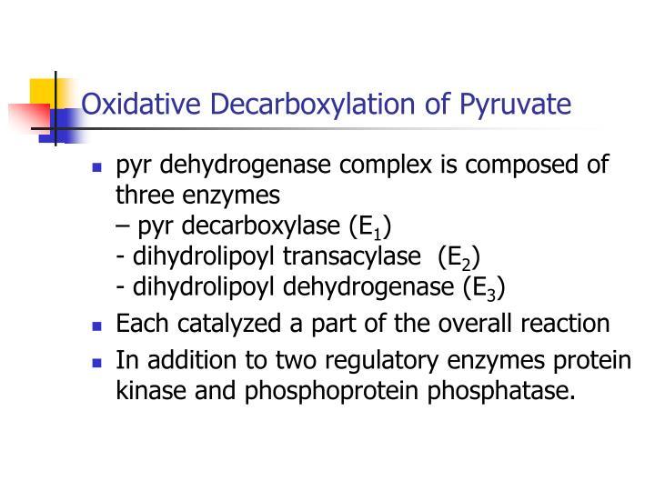 Oxidative Decarboxylation of Pyruvate