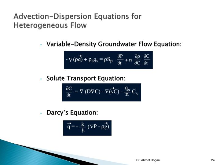 Advection-Dispersion Equations for Heterogeneous Flow