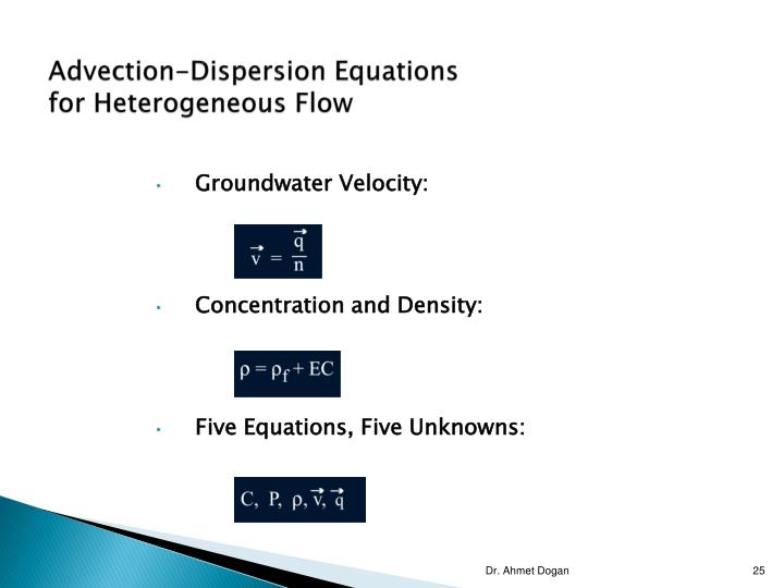Advection-Dispersion Equations