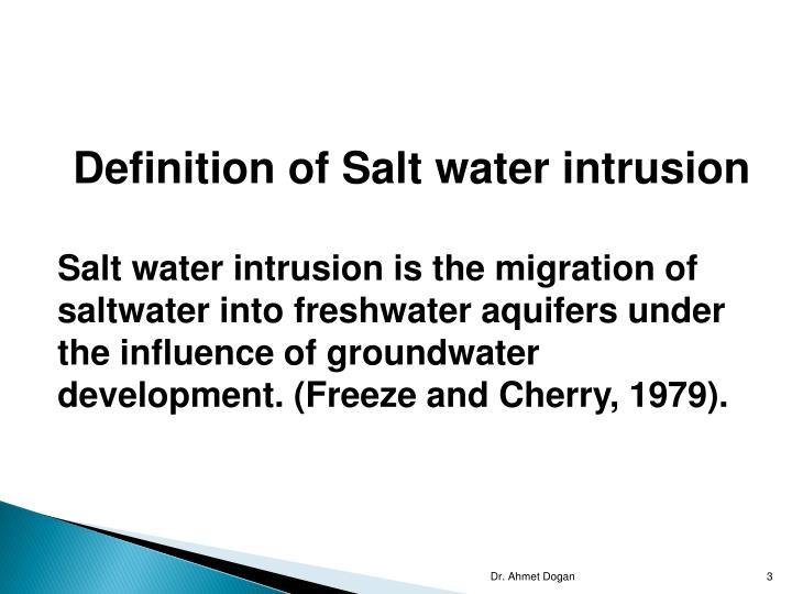 Definition of Salt water intrusion