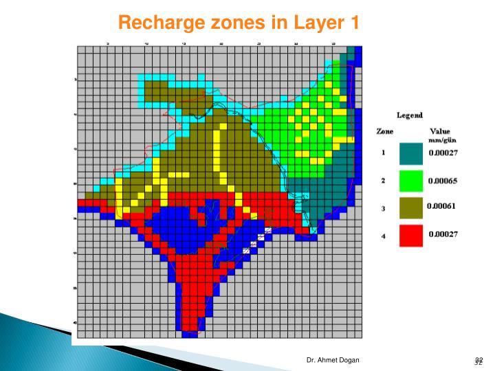 Recharge zones in Layer 1