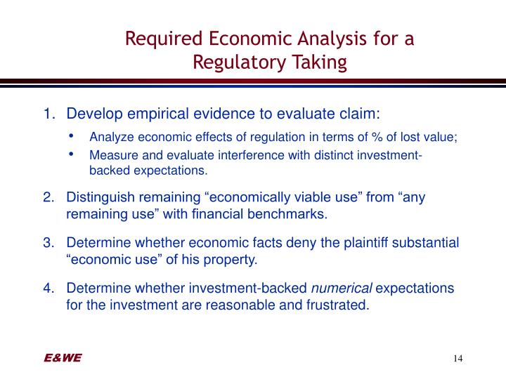 Required Economic Analysis for a Regulatory Taking