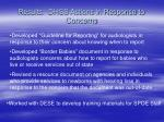 results dhss actions in response to concerns