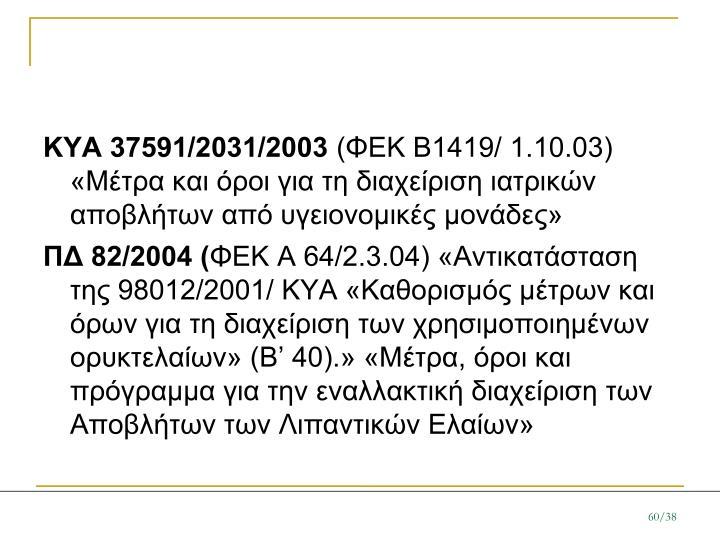 ΚΥΑ 37591/2031/2003