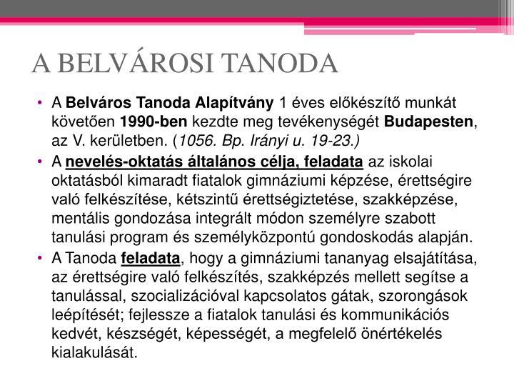 A BELVÁROSI TANODA