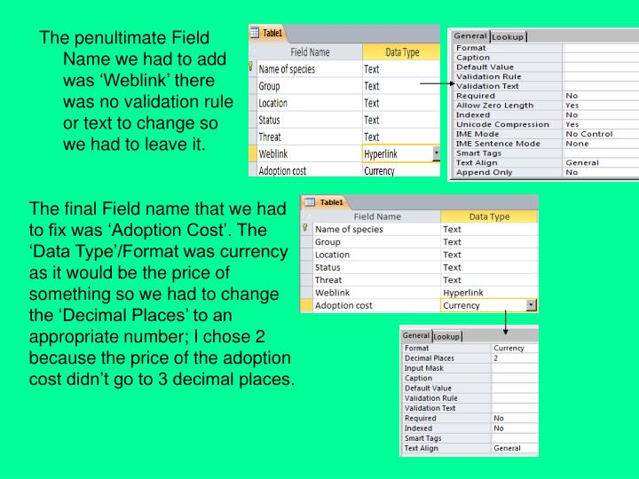 The penultimate Field Name we had to add was 'Weblink' there was no validation rule or text to change so  we had to leave it.