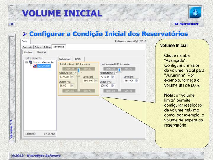 VOLUME INICIAL