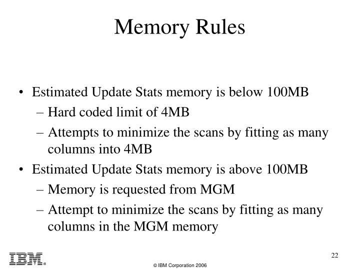 Estimated Update Stats memory is below 100MB
