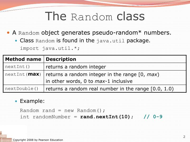 The random class