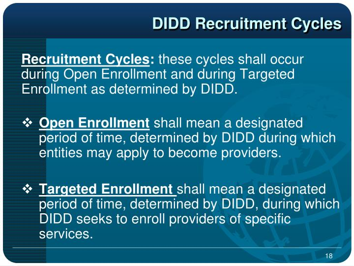 DIDD Recruitment Cycles