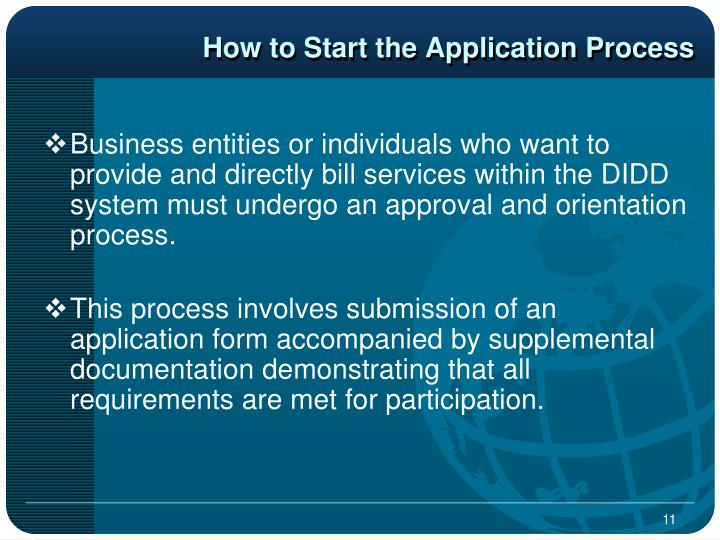 How to Start the Application Process