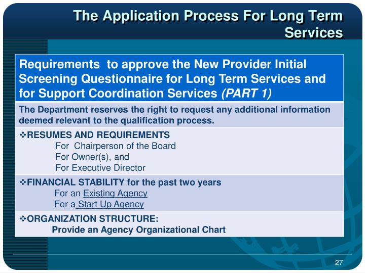 The Application Process For Long Term Services