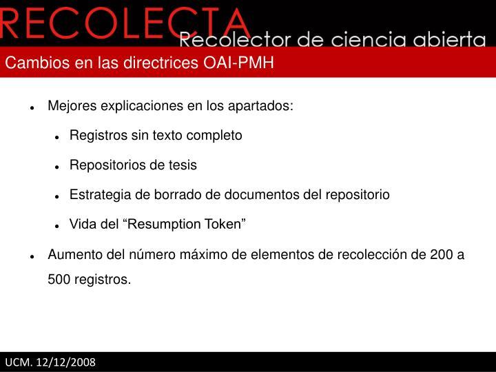 Cambios en las directrices OAI-PMH