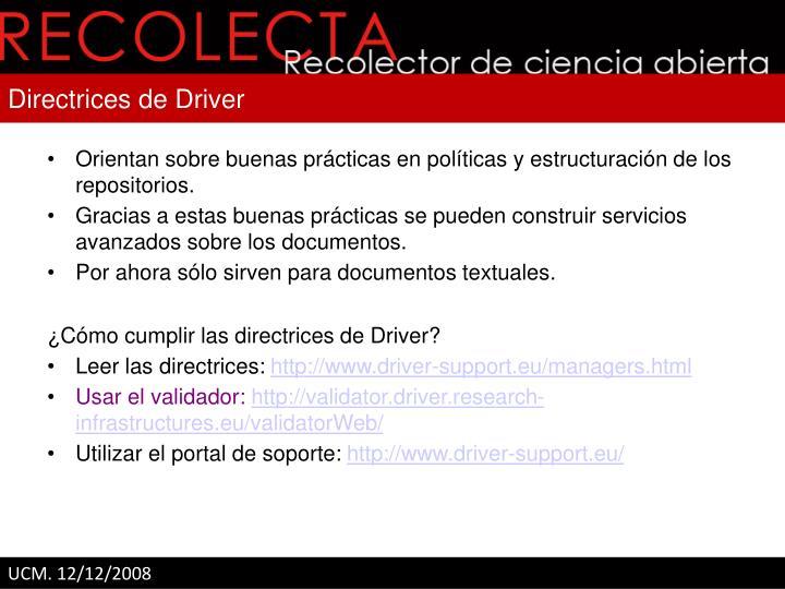 Directrices de Driver