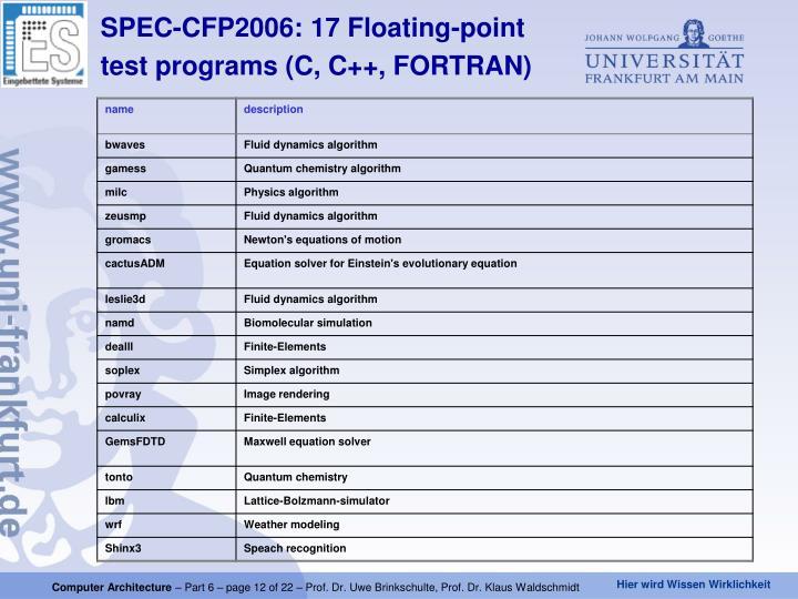 SPEC-CFP2006: 17 Floating-point