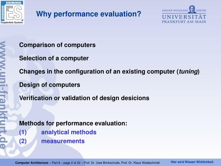 Why performance evaluation