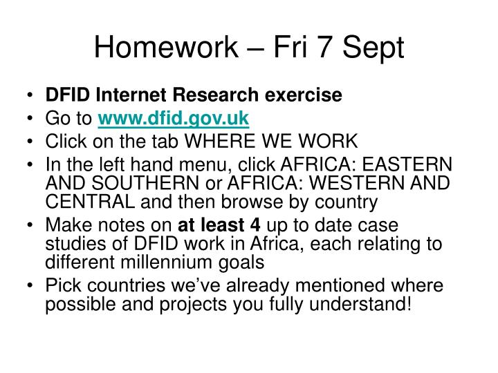 Homework – Fri 7 Sept