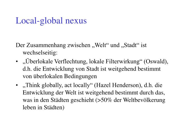 Local-global nexus