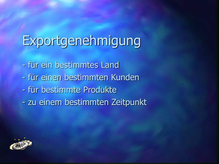 Exportgenehmigung