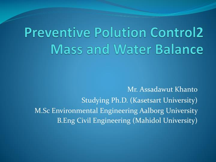 preventive polution control2 mass and water balance n.