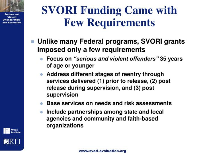 SVORI Funding Came with Few Requirements