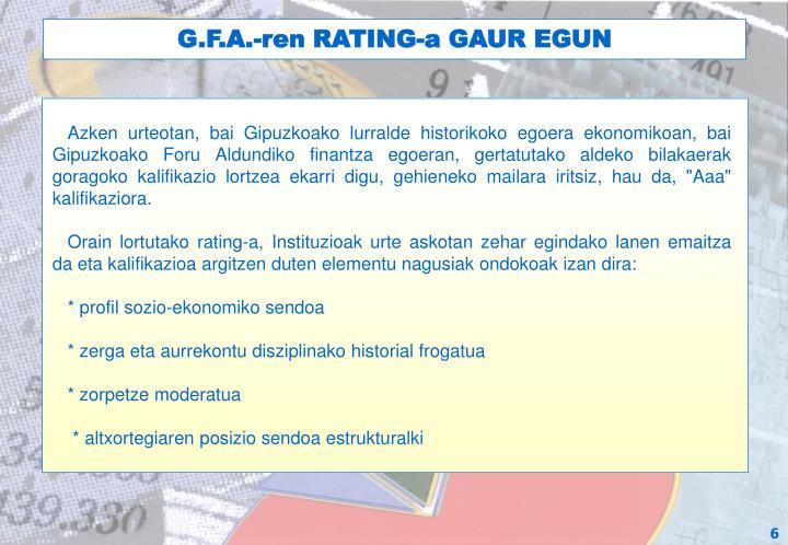 G.F.A.-ren RATING-a GAUR EGUN