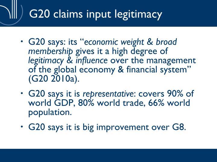 G20 claims input legitimacy
