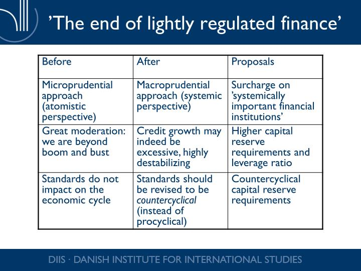 'The end of lightly regulated finance'