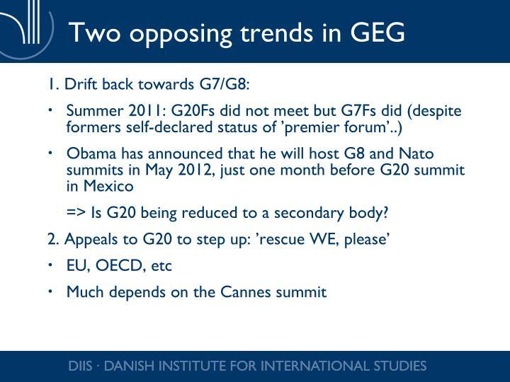 Two opposing trends in GEG
