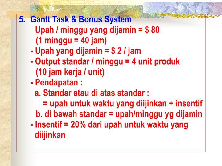 Gantt Task & Bonus System
