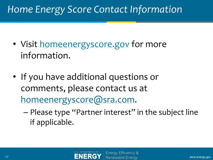 Home Energy Score Contact Information