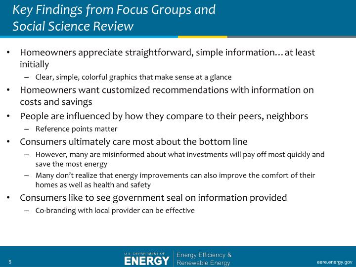 Key Findings from Focus Groups and